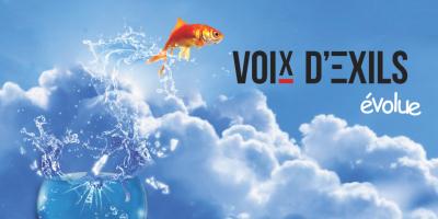 Affiche pour le lancement du nouveau site d'information de Voix d'Exils. Auteurs: Senad et Moaz, Voix d'Exils