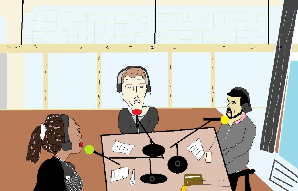 L'émission vue par notre dessinateur Georgi, De gauche à droite: Mika, Fabien et Afif.