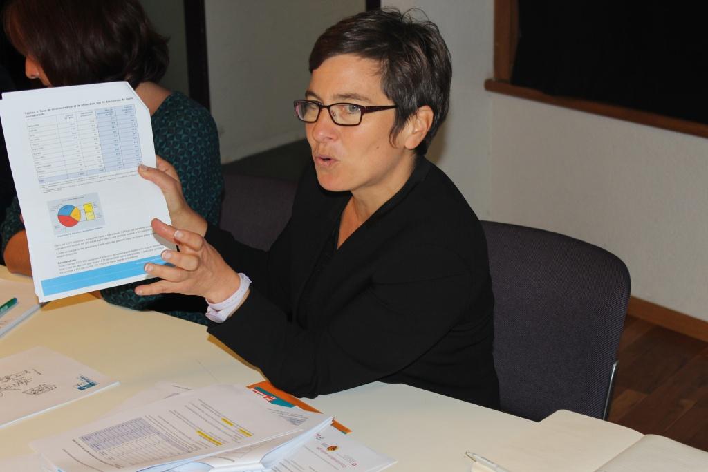 Sophie Malka, responsable du journal en ligne Asile.ch attire l'attention des participantes et participants sur les enjeux des statistiques. Photo: Giorgi, membre de la rédaction vaudoise de Voix d'Exils
